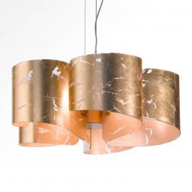 Superbe suspension à 5 lampes Papiro dorée