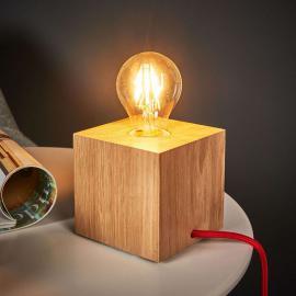 Lampe à poser Trongo cubique, en bois de chêne