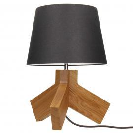 Lampe à poser en bois Tilda abat-jour anthracite