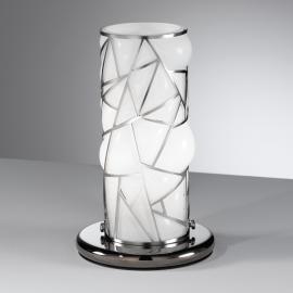 Lampe à poser Orione blanche avec éléments en inox
