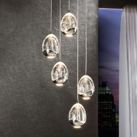 Suspension LED Rocio à cinq lampes, chromée