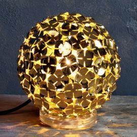 Lampe à poser dorée Ortenzia avec décor de fleurs