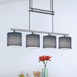 Suspension Garda à 4 lampes, abat-jour gris