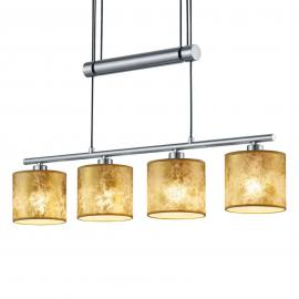 Suspension Garda 4 lampes, abat-jour dorés