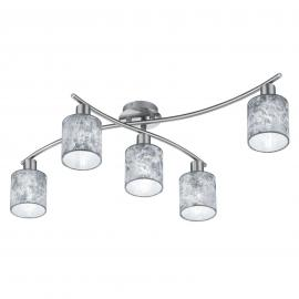 Plafonnier Garda à cinq lampes, abat-jour argentés