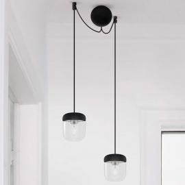 Suspension noire et acier Acorn à 2 lampes