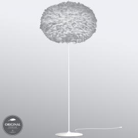 Lampadaire Eos X-large, abat-jour gris en plumes