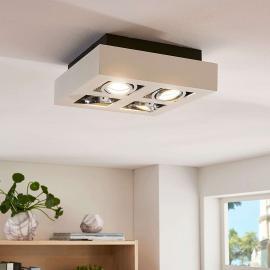 Plafonnier LED carré Vince à quatre lampes, blanc