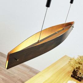 Suspension LED noire Lio avec motif doré