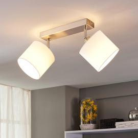 Plafonnier LED à 2 lampes avec abat-jour en tissu
