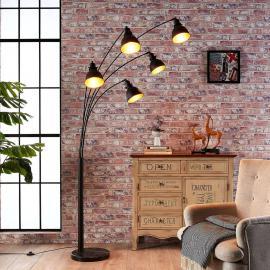 Lampadaire Lira à 5 lampes en noir et doré