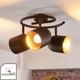 Plafonnier rond LED noir et doré Morik, easydim