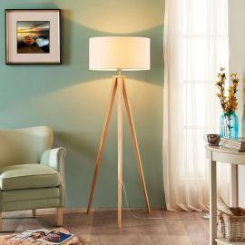 Lampadaire bois à 3 pieds Mya et abat-jour blanc