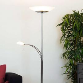Lampadaire LED indirect chromé Ilinca et variateur
