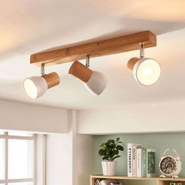 Plafonnier à trois lampes Thorin avec bois