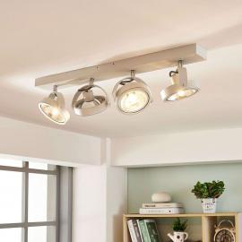 Plafonnier LED longitudinal blanc Lieven, 4 lampes