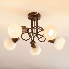Plafonnier LED Elaina à 5 lampes, rouille