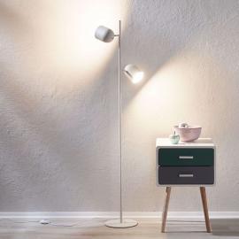 Lampadaire Morik blanc-argenté, à 2 lampes