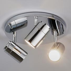 Plafonnier Dejan chromé brillant à 3 lampes