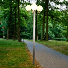 Lampadaire d'extérieur Laci en inox à 3 lampes