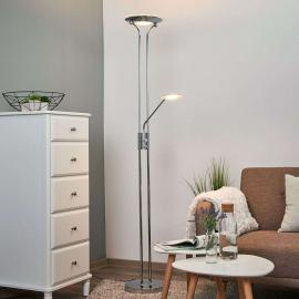 Lampadaire LED Aras avec liseuse, chromé