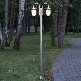 Lampadaire Mian en inox à deux lampes