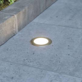 Spot rond encastrable dans le sol LED Doris, inox