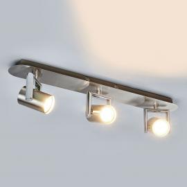 Plafonnier LED Luciana à trois lampes, nickel