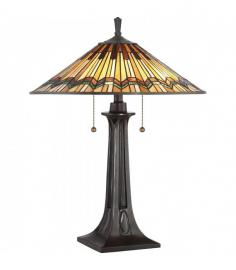 Lampe de table Alcott, bronze valliant, verre tiffany