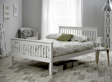 """Bedmaster White Grace High Foot End Bed Frame - Single (3' x 6'3"""")"""