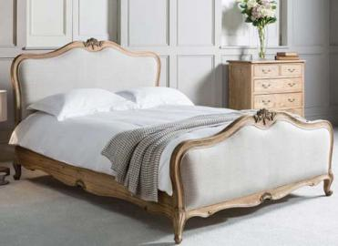 Frank Hudson Living Chic Weathered with Fabric Detailing Bed Frame -