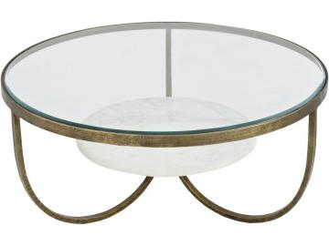 Anzio Glass and Marble Round Coffee Table