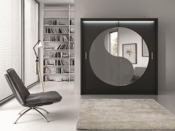 Lower- mirrored wardrobe closet