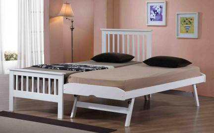 Flintshire Pentre Hardwood Guest Bed in White, Single