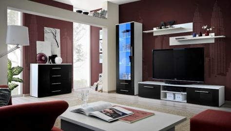 Santi 1 - black and white tv entertainment stand