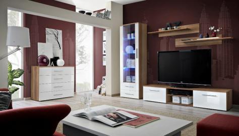 Santi 3 - White and walnut entertainment center cabinet
