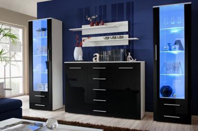 Monaco 1 - black and white wall unit