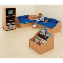 Junior Reading Corner and 2 Seater Sofa in Wood Underseat Storage