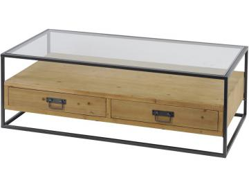 Kempsey Glass Top Wood Coffee Table