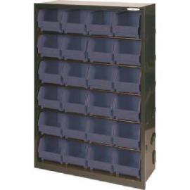 Metal Bin Cupboard With 24 Polypropylene Bins Dark Grey Black 371833