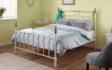 Silentnight Sydney Metal Cream Bed Frame, Double