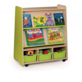 Tall Double Sided Mobile Bookcase With Tray 1000 x 500 x 800mm,