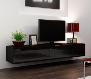 Seattle 23 - Modern TV wall unit with high gloss black MDF fronts