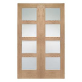 Wickes Marlow Fully Glazed Oak 4 Panel Rebated Internal Door Pair - 1981mm x 1524mm