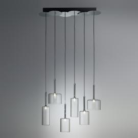 Suspension en verre à 6 lampes Spillray