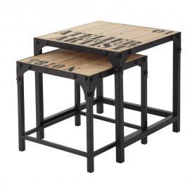 2 tables basses indus en sapin et métal Docks