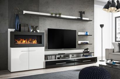 Cedar- meuble télé avec cheminée