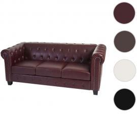 Mendler Canapé à 3 places Chesterfield, canapé longue, similicuir ~ pieds angulaires, rouge/marron