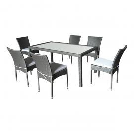 Salon de jardin Doha en résine tressée 6 chaises + coussins gris