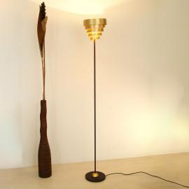 Éclatant lampadaire BANDEROLE brun et doré